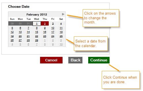 Choose Date box