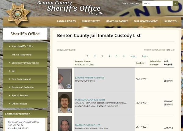 Inmate Roster Benton County