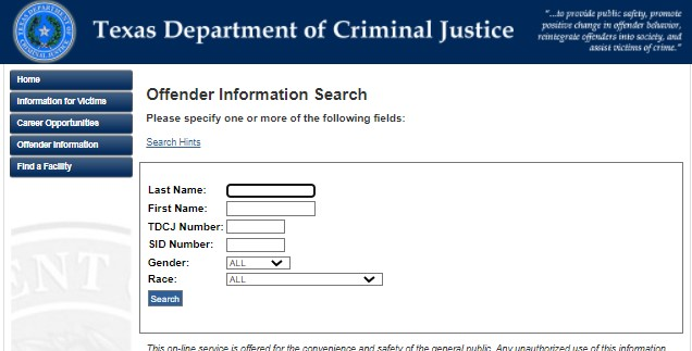 how find the Texas Department of Criminal Justice or TDCJ inmate roster
