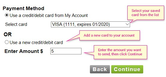select the payment method