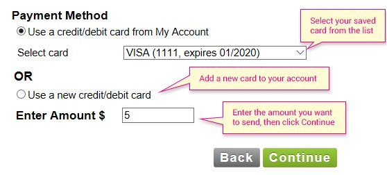 you have to choose the payment method